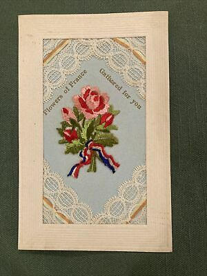 WW1 Silk And Lace Postcard - Flowers Of France • 8£