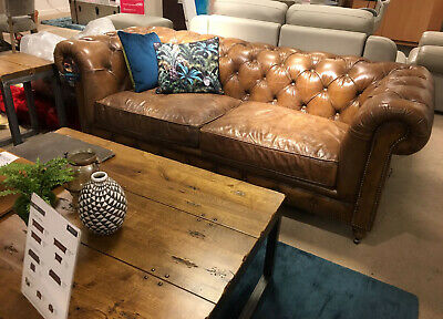 Brown Leather Chesterfield 3 Seater Sofa NEW • 2,200£