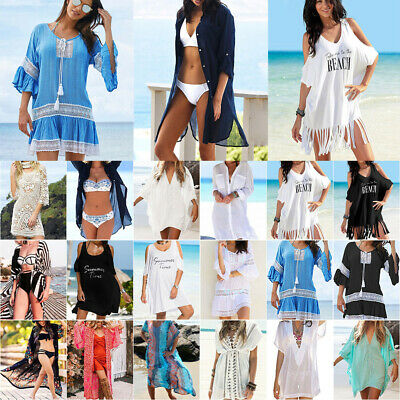 AU18.61 • Buy Women BOHO Bikini Cover Up Mini Dress & Cardigan Shawl Long Kimono Beach Wear