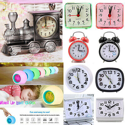 AU16.89 • Buy Mini Analogue Alarm Clock Battery Operated Desk Table Bedside Clocks Room Decors