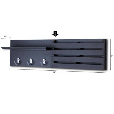 $29.56 • Buy Wall Shelf And Mail Holder Coat Key Rack Home Wall Mount With 3 Hooks 24  X 6