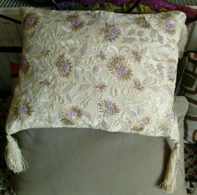 Cushion Cover Silk Cream Gold Lilac Tassels BNWT New Floral Embroidered Beaded • 0.99£