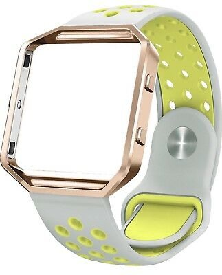 AU14.63 • Buy Silicone Small 5.8-7.6  Fitbit Blaze Rose Gold Frame, Silver/Yellow Band