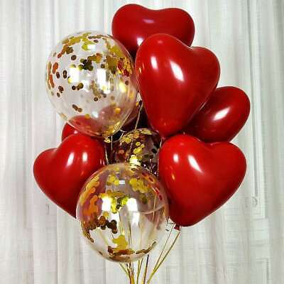 AU9.99 • Buy 20pcs 10inch Ruby Red 2Layer Heart Latex Balloon Valentines Day Anniversary Love