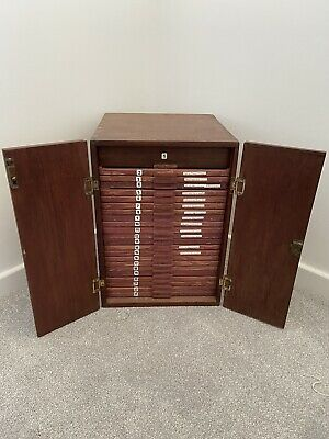Antique Wooden Coin Microscope Slide Collectors Cabinet Chest Of Drawers • 300£
