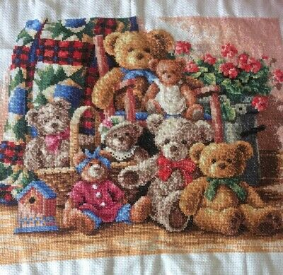 """Finished Completed Cross Stitch Teddy Bears 18"""" X 14"""" • 49.99£"""