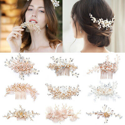 $ CDN11.09 • Buy Wedding Hair Accessories Bride Headpiece Bridal Hair Comb Floral Hair Clips