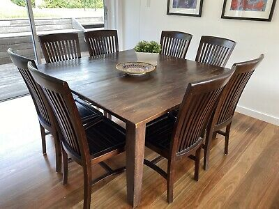 AU400 • Buy Used 8 Seater Square Dining Table And Chairs