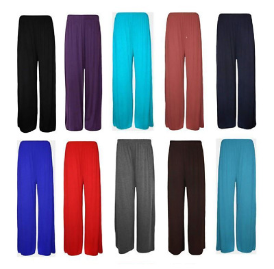 £5.70 • Buy New Plus Size Womens Plain PALAZZO Wide Leg Flared Ladies Trousers Pants 6-20
