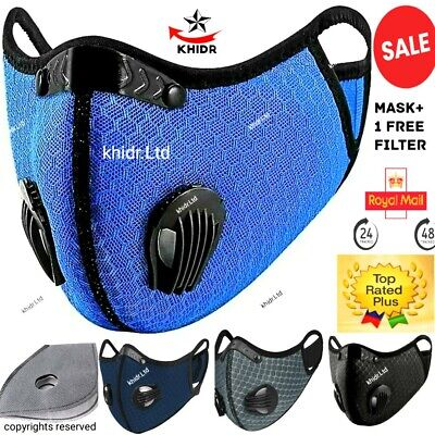 Washable Face Mask 2 Airvents+filter PM2.5 Reusable 1 Valve Face Covering+filtr  • 3.79£