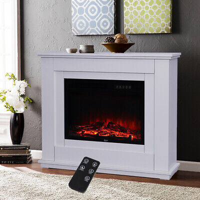White LED Electric Fireplace Log Burning Flame Effect Standing Room Heaters Fire • 289.95£