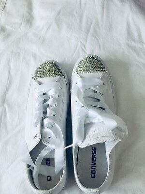 GENUINE CONVERSE ALL STAR Swarovski White Leather Low Trainers Size 8 Stunning • 35£