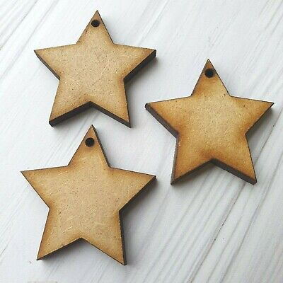 £2.49 • Buy Star With HOLE - Wooden MDF Craft Tags Decoration Card Making Shape Wood Family