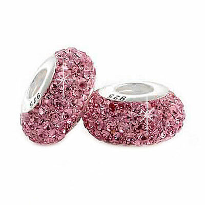 £5.95 • Buy 1 Baby Pink Crystal Charm Bead 925 Silver - Gift For Wife Mum Sister Nan