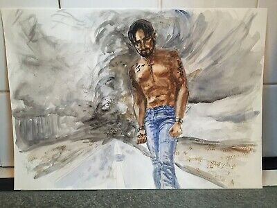 Original Watercolour Painting Male Topless Signed By Artist • 15£