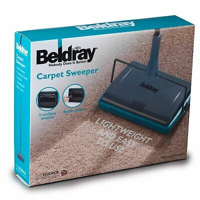 New Beldray 3 Brush Cordless Manual Floor Carpet Sweeper Duster Blue/grey • 19.99£