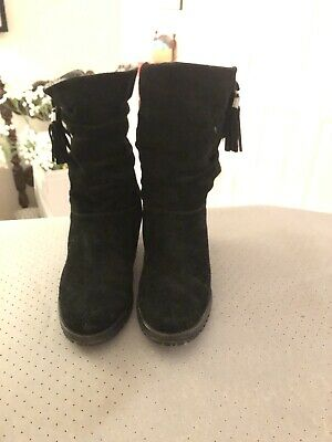 LADIES BLACK SUEDE LEATHER Stuart Weitzman WEDGE WARM LINED WEDGE BOOTS, UK 6.5 • 50£