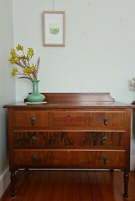 AU355 • Buy Antique Flame Mahogany Inlaid Chest Of Drawers