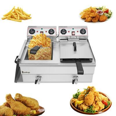 £152.99 • Buy 24L Commercial Electric Deep Fryer Fat Chip Twin Dual Tank Stainless Steel 6000W