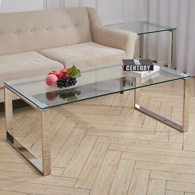 Coffee Table Glass Top Living Room Table Chrome Legs Tempered Glass Tea Table UK • 102.95£