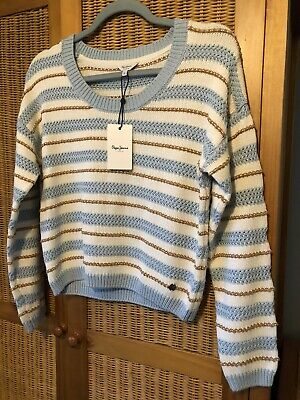 Ladies Pepe Jeans Jumper Cream And Blue Stripe XS Extra Small • 20£