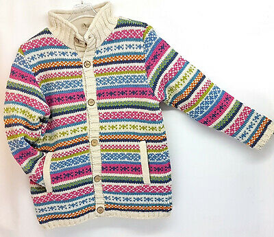 *sale*pachamama Wool Chunky Knit Cardigan Fleece Lined Cream Multi Stripe Collar • 49£