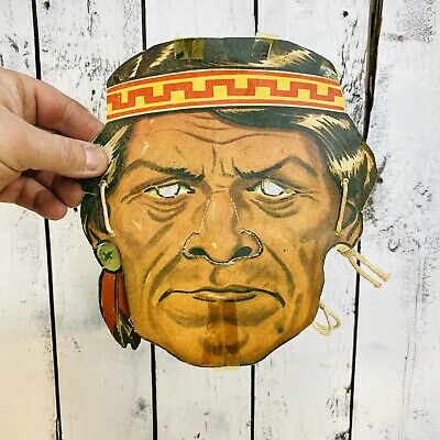 $ CDN90 • Buy Antique Halloween Mask Cardboard Indian Fist Nation Chief