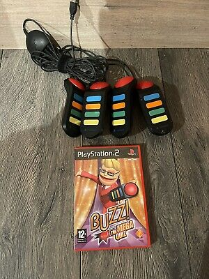Official Sony Playstation 2 Buzz! Wired Buzzers Controllers -Set Of 4+MEGA QUIZ • 18.99£