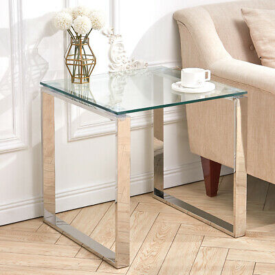 Coffee Table Tempered Glass Top Chrome Legs Side End Table Living Room Tables UK • 82.95£