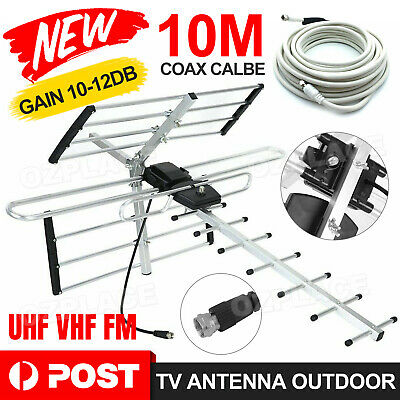 AU28.95 • Buy Digital Outdoor TV Antenna VHF UHF FM Signal Aerial Outdoor Amplifier Booster AU