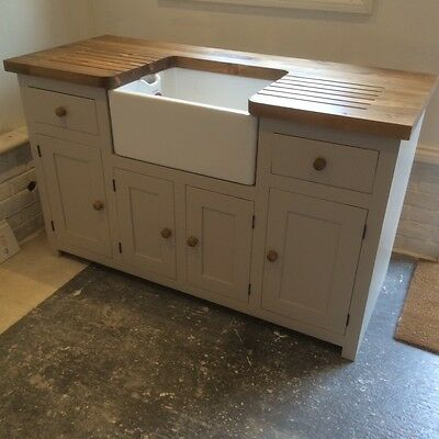 Kitchen Sink Unit Free Standing Solid Pine With Belfast Sink And Pine Worktop • 1,345£