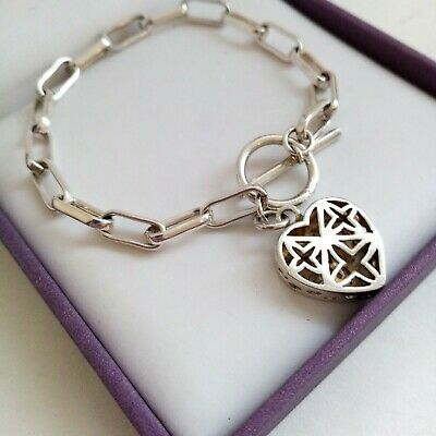 Vintage Silver Tone T Bar Filigree Heart Bracelet Toggle Open Link 7.5  • 12.99£