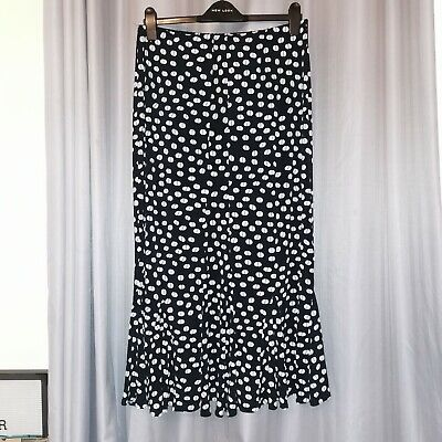 Cotton Traders Stretch Midi Skirt Size 12-14 Frill Flair Hem Black And White • 6.50£