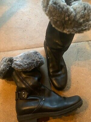 Stuart Weitzman /Russell & Bromley Black Leather Boots Faux Fur Size 4/37.VGC • 50£