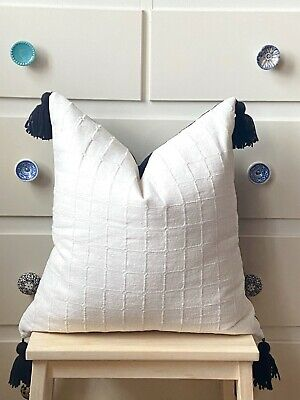 "Bohemian Linen Scandi Boho Cushion Cover Tassels Handmade Off-White 45cm 18"" • 19.99£"