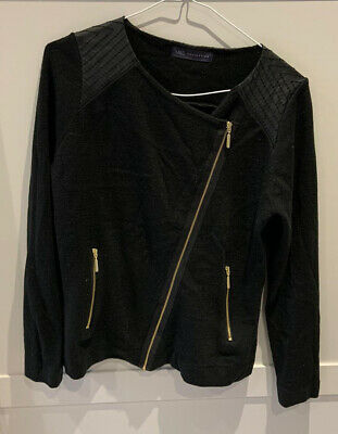 Ladies NEW Marks & Spencer Black Wool And Leather Cardigan With Gold Zip • 15£