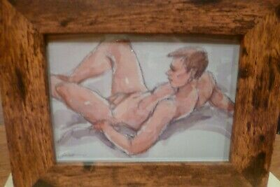 Classic Male Original Nude Watercolour Framed Limited Edition Print • 20£