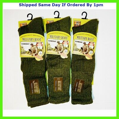 £7.99 • Buy Mens Army Long Military Thermal Warm Thick Winter Socks Olive Size 6-11 3 Pairs