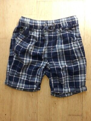 Next Boys Blue Checked Shorts Age 6 Years 100% Cotton • 2£