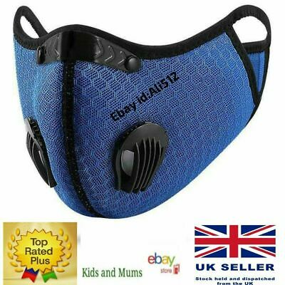 Reusable Washable Anti Pollution Face Mask PM2.5 One/Two Air Vent With Filter UK • 3.96£