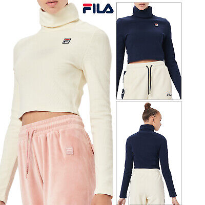 £29.98 • Buy Fila Womens Tapi High Funnel Roll Neck Long Sleeve Ribbed Knit Premium Crop Top