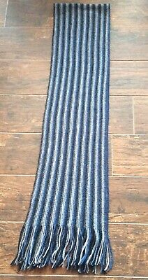 Unisex Linea Blue/Grey Stripe Long Lambswool Scarf .G.C! • 1.50£