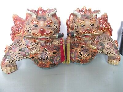 Large Beautiful Pair Of Chinese CERAMIC FROM COLLECTABLES  Foo Dogs • 49.99£