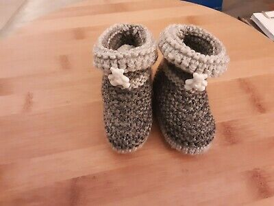 New! Handmade Knitted Booties, Size 0-3 Months, 2 Tone Grey,Teddy,GIFT • 0.99£
