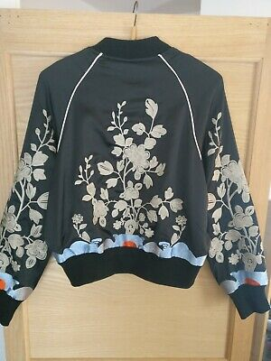 Embroidered Silk Bomber Jacket Black And Cream Beautiful Stitching Size Small • 20£