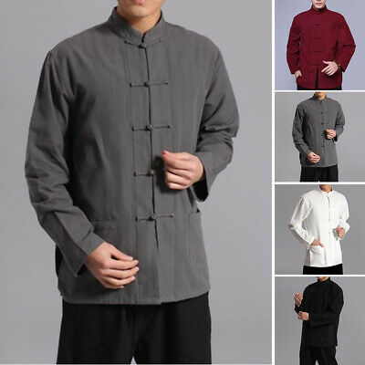Chinese Style Men Shirt Kung Fu Traditional Cotton Linen Tops Casual Yoga Shirts • 8.30£