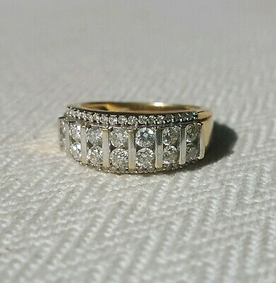 AU1350 • Buy 1ct Natural Diamond 18ct Yellow Gold Multi-bar Dress Ring. Ex. 'as New' Cond.