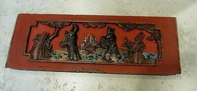 Vintage Wooden Carved And Painted Chinese Panel 38 Cms X 14 Cms • 15£