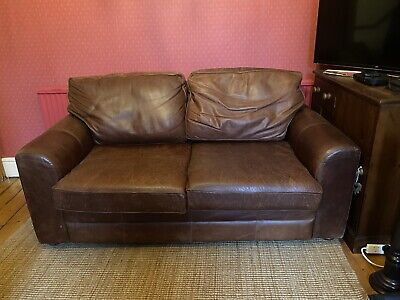 Halo 2 Seater Brown Leather Vintage Distressed Sofa - British Made, Comfy • 100£