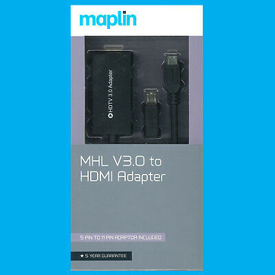 AU17.58 • Buy MHL V3 11 Pin MicroUSB To HDMI Adapter (5 Pin To 11 Pin Adapter Included) Maplin